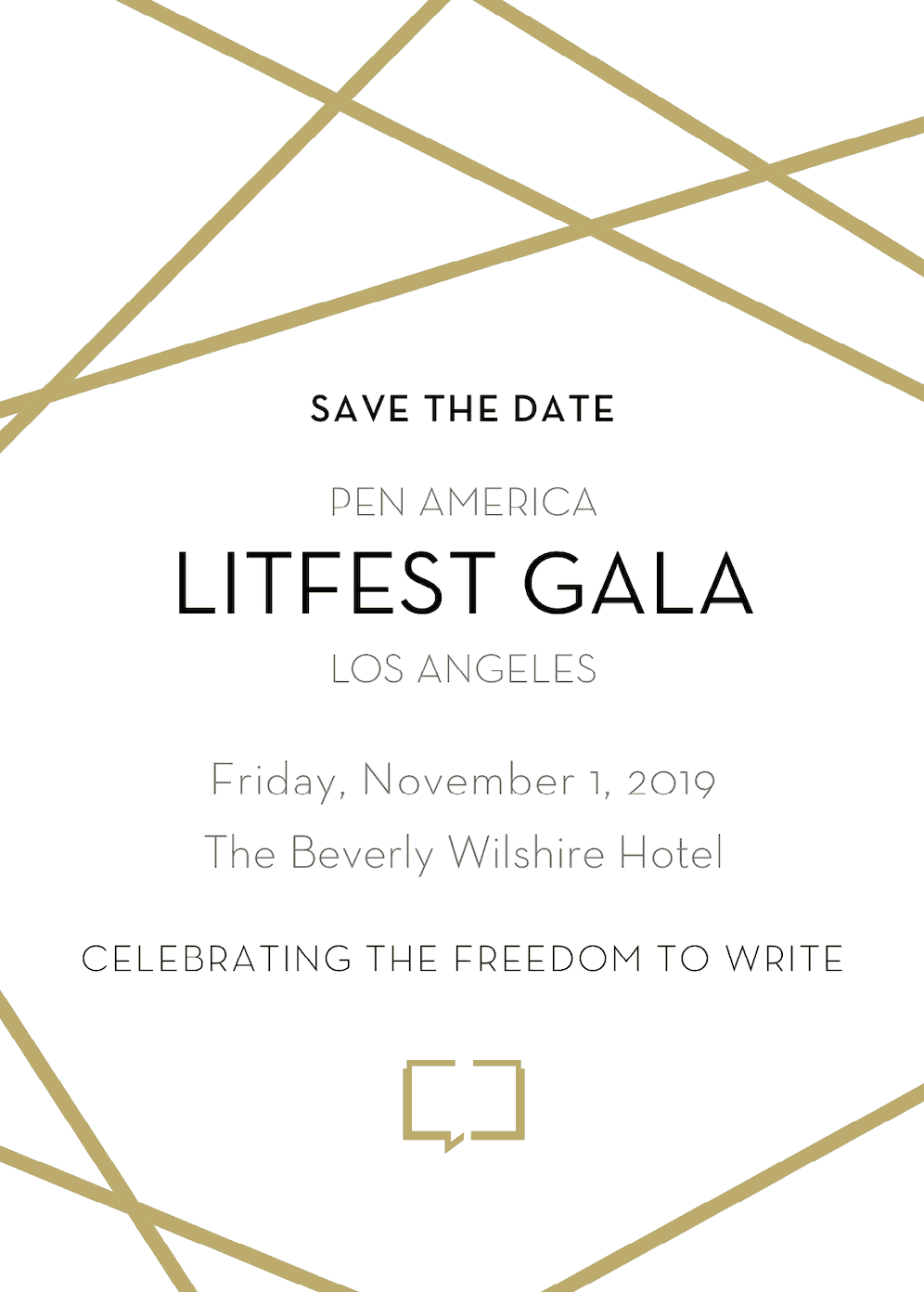 Save the Date invitation for the 2019 LitFest Gala on Friday November 1 at the Beverly Wilshire Hotel
