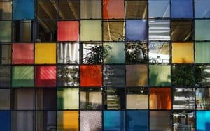 colored glass tiles in a window pane