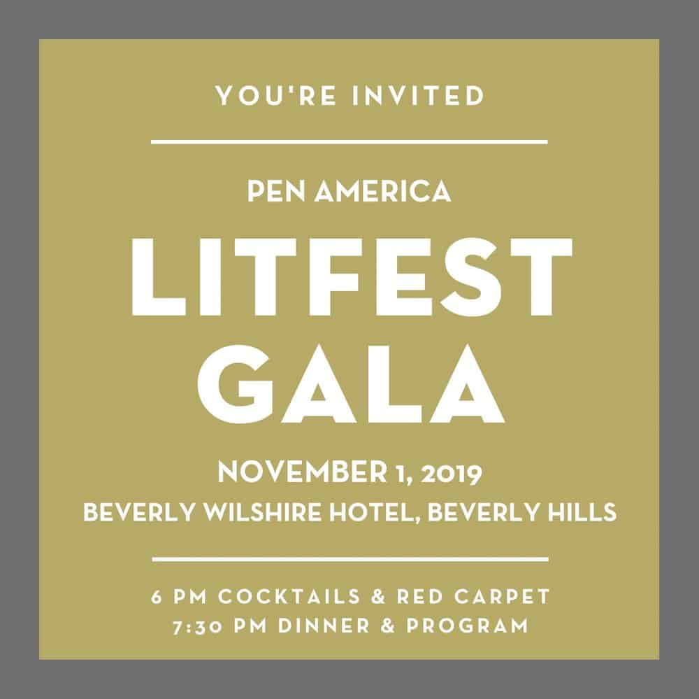 invitation to the 2019 LitFest Gala in Los Angeles