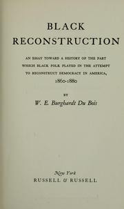 Cover of Black Reconstruction by W.E.B. DuBois