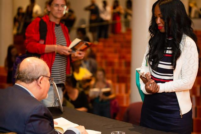 Salman Rushdie signing books at PEN Out Loud
