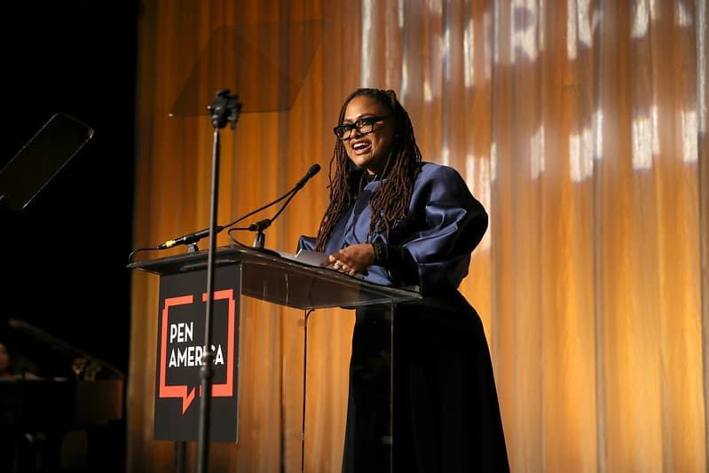 ava duvernay speaks at podium