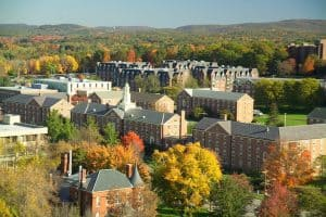 umass amherst campus aerial shot