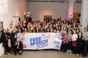 group image of people holding free speech 2020 banner