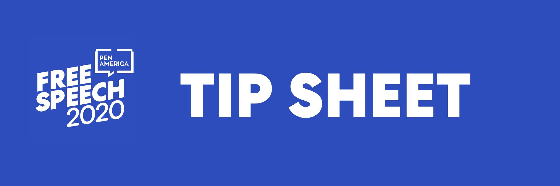 Free Speech 2020: Tip Sheet Header