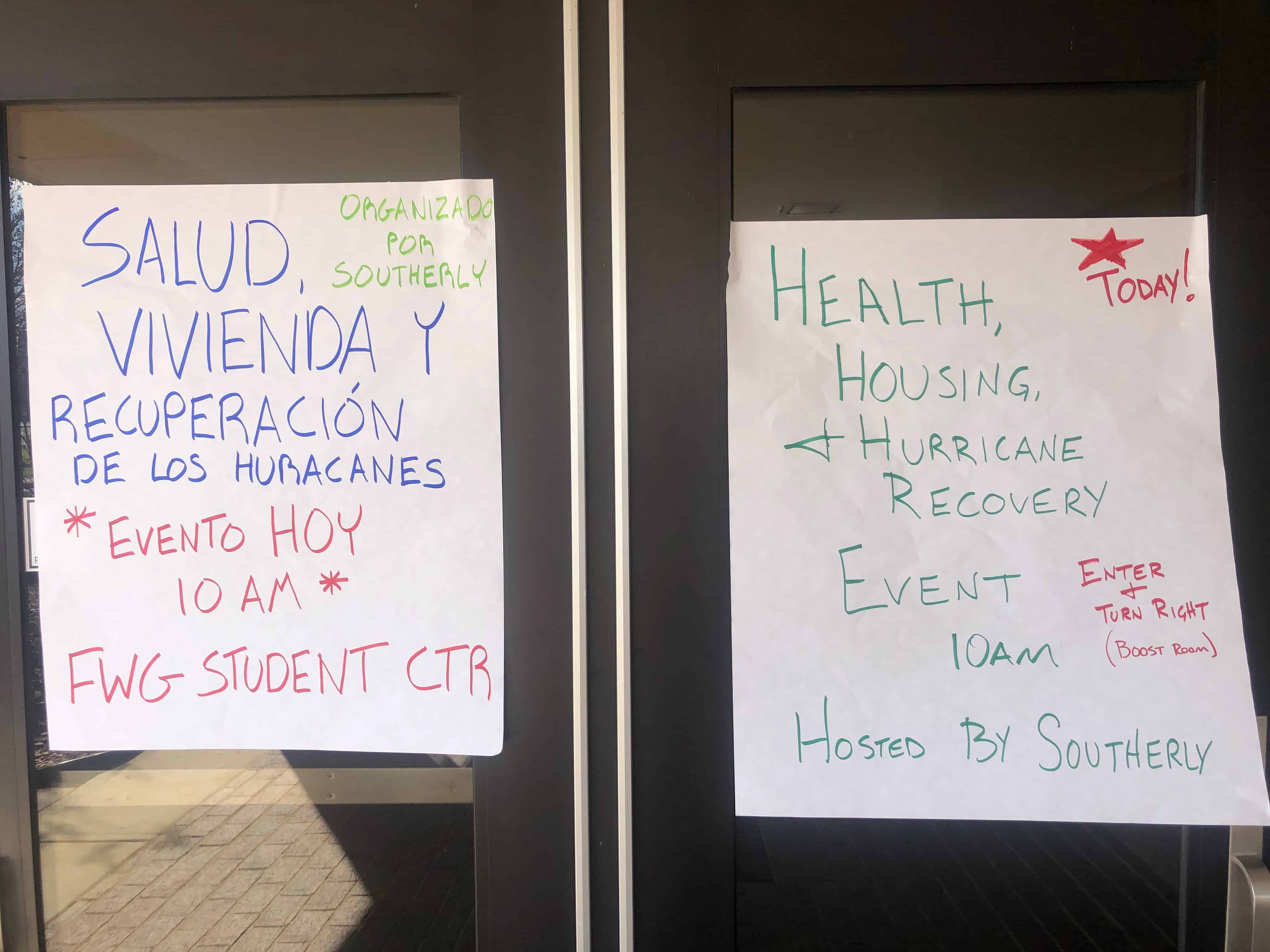 Signs on door at event
