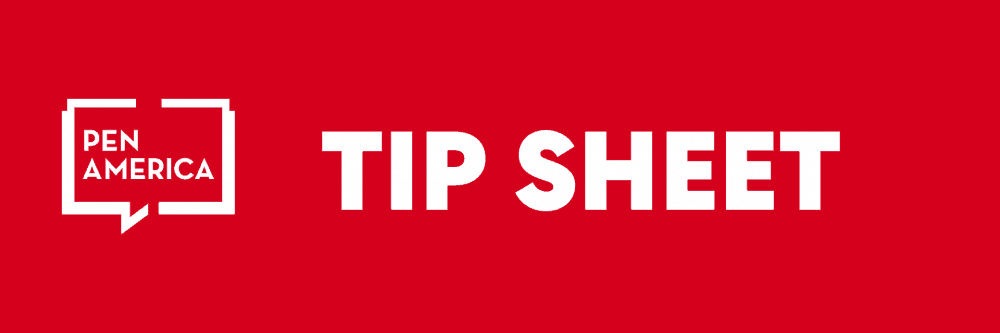 """Red Banner with words """"Tip Sheet"""" and PEN America logo"""