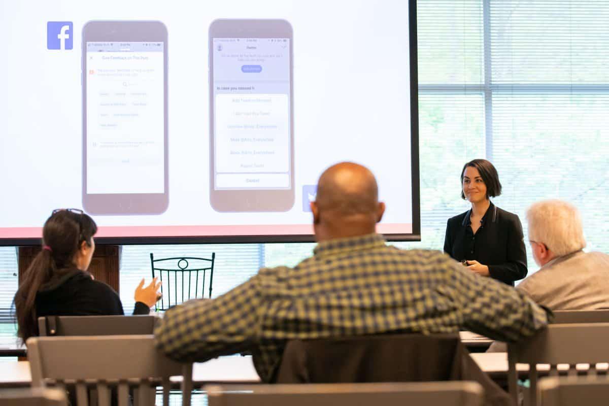 PEN America U.S. Free Expression Programs Director Nora Benavidez giving a training