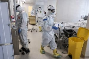 Doctors work inside the ICU for coronavirus patients in a hospital in Moscow, Russia