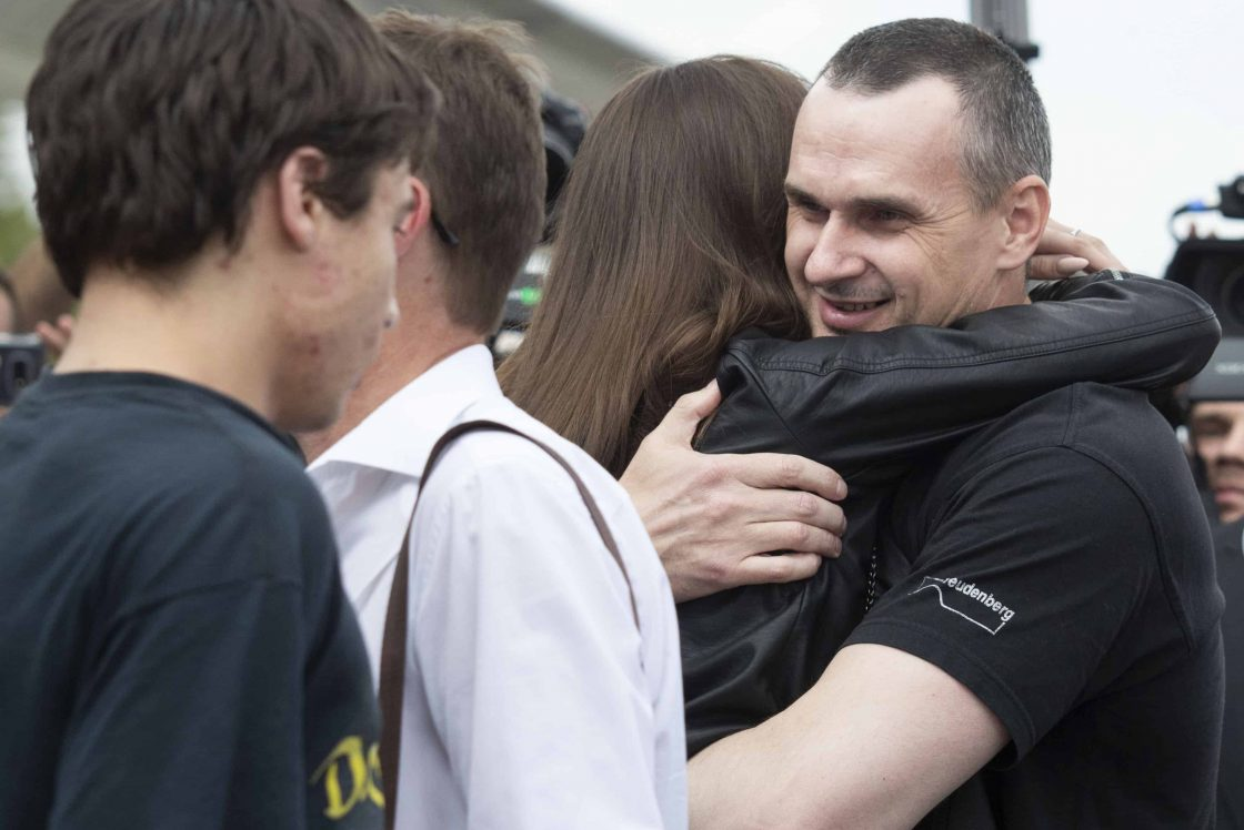 Oleg Sentsov hugs his daughter