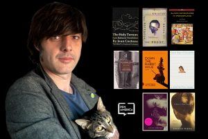 Andrés Barba with covers of selected books