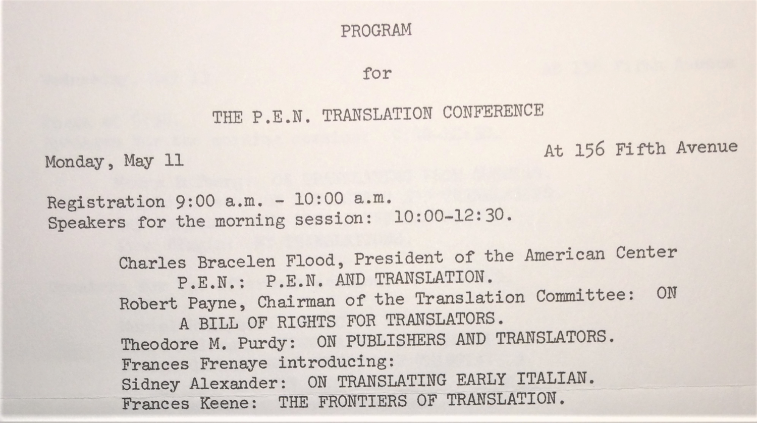 Program for the P.E.N. Translation Conference