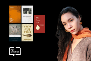 Ananda Naima González with covers of selected books