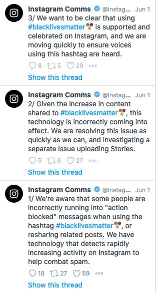 Screenshot of tweets from Instagram Comms