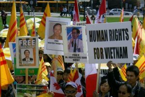 Protesters at a human rights rally in Vietnam in April 2012