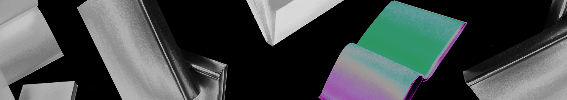 black and white floating books with second-to-last book in purple and green