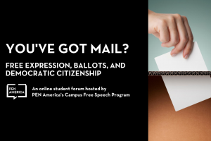 You've Got Mail? Free Expression, Ballots, and Democratic Citizenship event page graphic: text on left; on right: hand putting ballot into a box