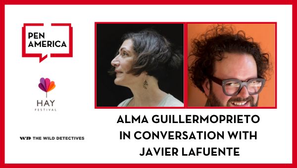 Alma Guillermoprieto in Conversation with Javier Lafuente: headshots, logos, and event title