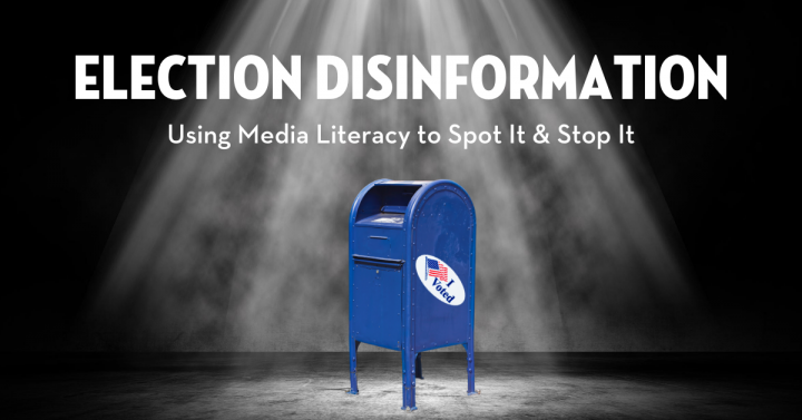"""Election Disinformation"" event page graphic: mailbox centered and in spotlight"