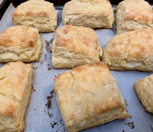 finished biscuits on baking sheet