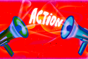 """""""Action"""" category artwork: Two megaphones and the word """"Action"""" in between them"""