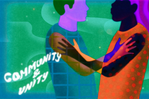 """""""Community and Unity"""" category artwork: Two people with linked arms"""