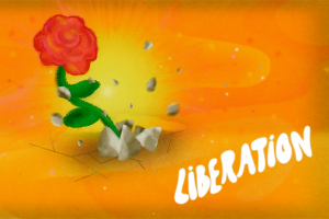 """""""Liberation"""" category artwork: A rose emerging from rocks"""