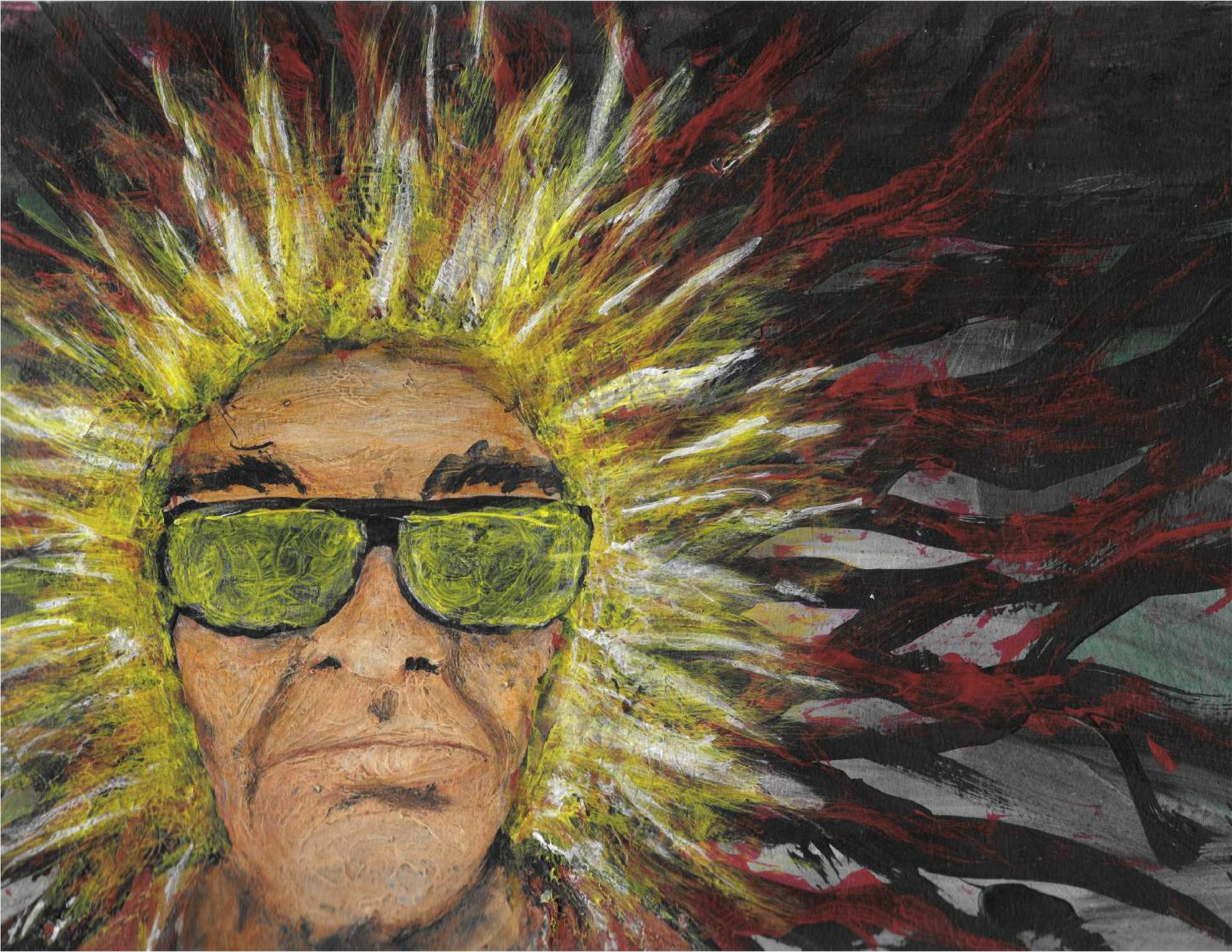A man in sunglasses has a jagged yellow halo around his head while the rest of the background is overcome by a tangle of black and red lines