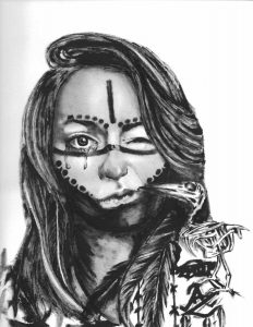 Black and white illustration of a woman with tears in one eye, black markings on her face, and a skeleton of a bird on her shoulder