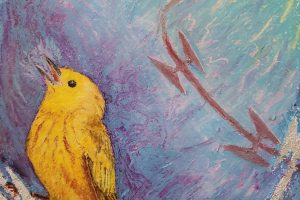 A yellow canary on a jagged branch before a pastel purple and blue backdrop