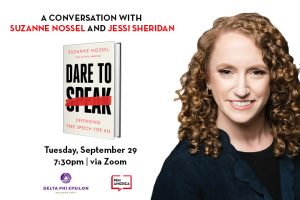"Suzanne Nossel headshot on right; on left: ""A Conversation with Suzanne Nossel and Jessi Sheridan"" in text, Dare to Speak book cover, event details (Tuesday, September 29 7:30pm 