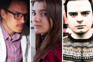 Photos of detained members of PEN Belarus; from left to right: Siarzh Miadzvedzeu, Hanna Komar, and Uladzimir Liankevich
