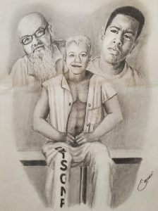 """A young man in pants marked with the word """"prisoner"""" sits and smile. Images of an older man and a young man with pensive expressions linger behind him"""
