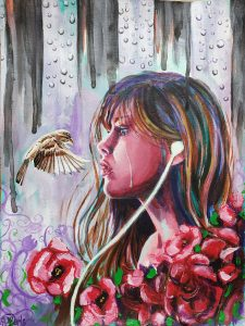 A woman with an earbud in one ear stares at a small bird flying in front of her with several red flowers in the foreground and rain in the background