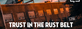 """""""Trust in the Rust Belt"""" event image sunset warehouse"""