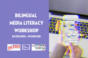 "faded phone in front of laptop next to text ""Bilingual Media Literacy Workshop"""