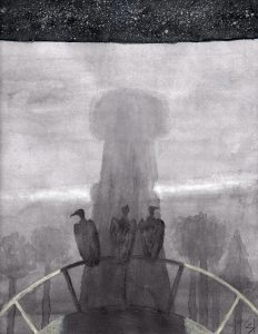 Three silhouettes stand at the edge of a railing in the shadow of a tower. In the top strip of the image there is a dark starry sky.