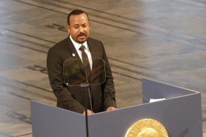 ethiopia's prime minister speaking at a podium