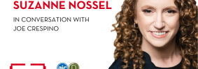 """Suzanne Nossel headshot on right; on left: """"Suzanne Nossel with Joe Crespino"""" in text and AJC Decatur Book Festival and PEN America logos"""