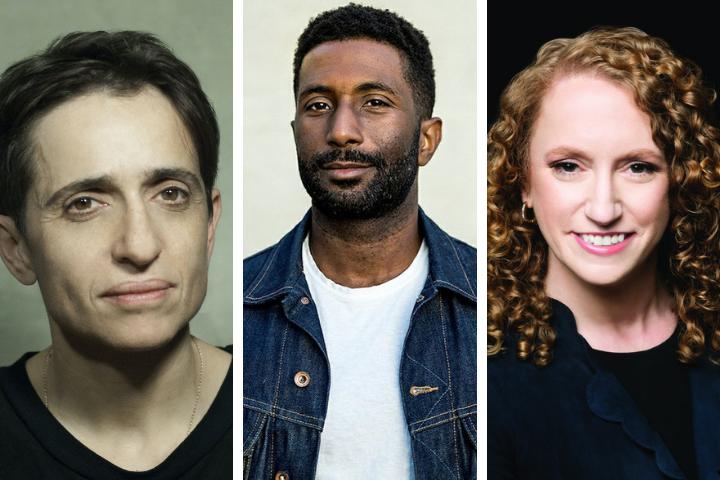 Headshots of Masha Gessen, Wesley Morris, and Suzanne Nossel