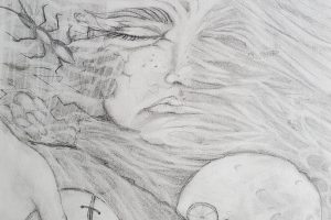 Pencil drawing with a female face merging into natural imagery. The lower part of the image has a hand holding a baseball and a bike before a full moon.