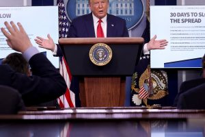 President Trump speaking at the White House during a press briefing