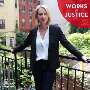 Works of Justice podcast artwork with Lucy Lang photo