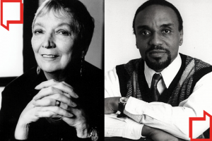 Headshots of Madeleine L'Engle and Ahmad Rahman on upper left and bottom right corners