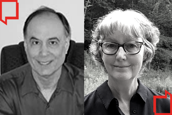 Headshots of Seth Wittner and Katrinka Moore side by side; red quotation marks on upper left and bottom right corners