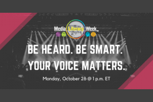 """Be Heard. Be Smart. Your Voice Matters."" Media Literacy Week image, black and magenta with spotlights in background"
