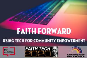 """Faith Forward: Using Tech for Community Empowerment"" multicolored laptop keyboard ""faith tech"""