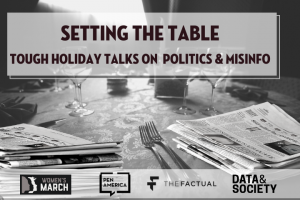 """Setting the Table: Tough Holiday Talks on Politics & Misinfo"" newspapers at table settings instead of plates, grayscale"