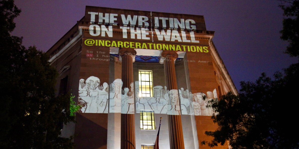 Graphic novel projection on the building