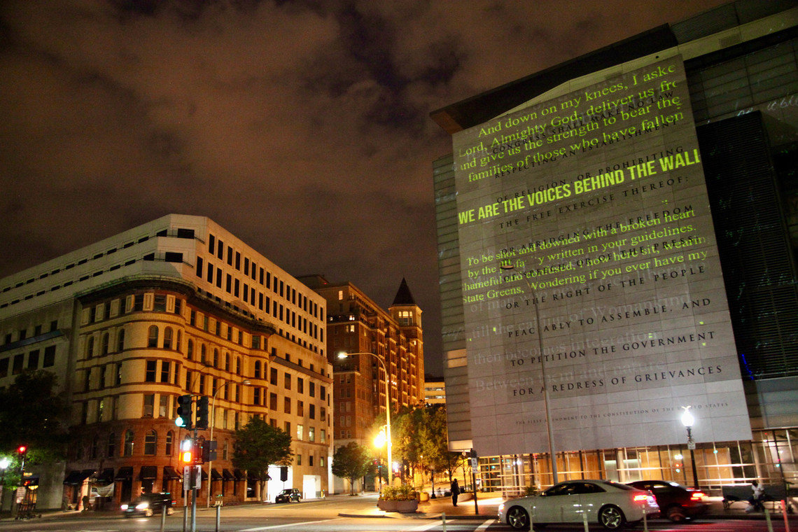 """""""We are the voices behind the wall"""" projection"""